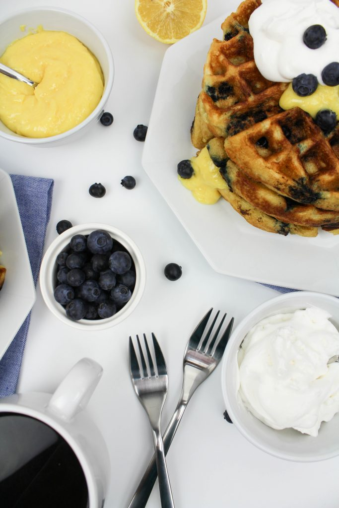 Blueberry Waffles with Lemon Curd