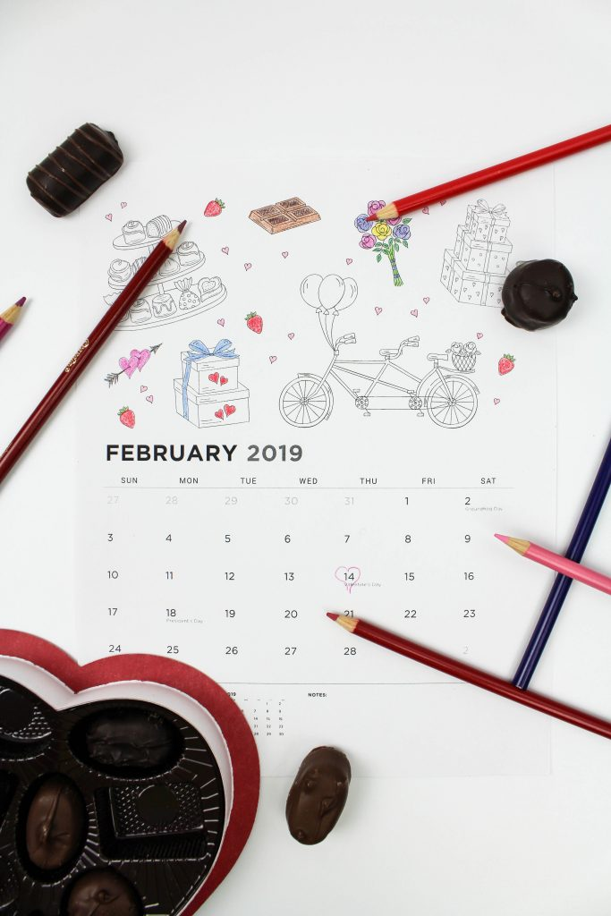 Printable February 2019 Calendar: Coloring Pages!
