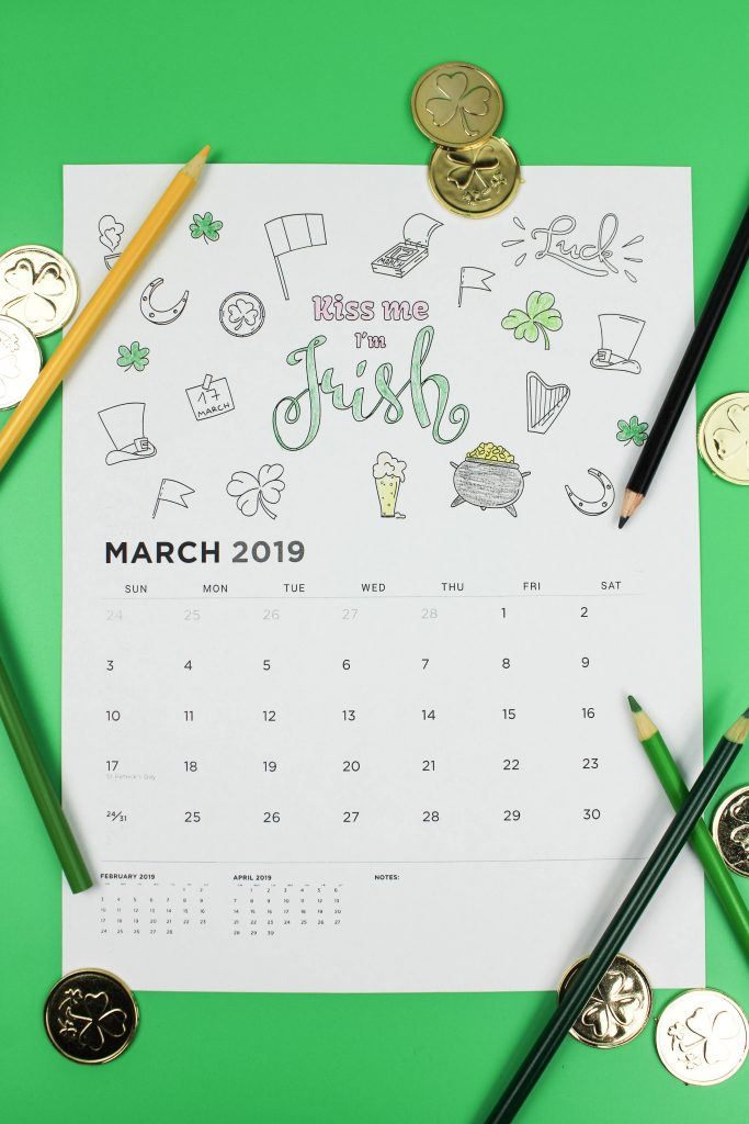 Printable March 2019 Calendar: Coloring Pages!
