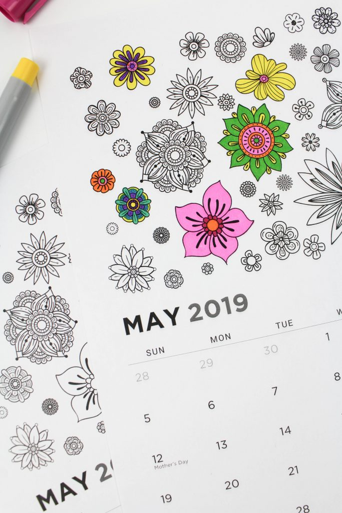 Printable May 2019 Calendar: Coloring Pages!