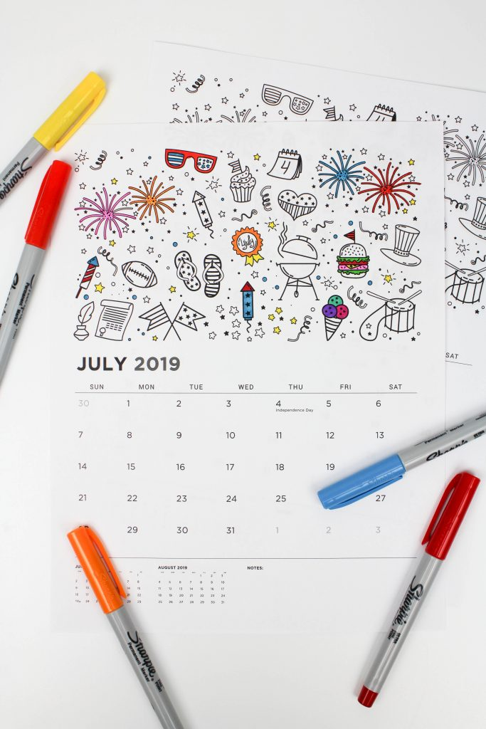 Printable July 2019 Calendar: Coloring Pages!