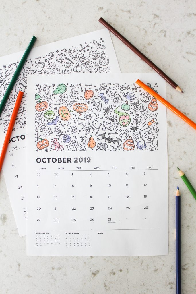 Printable October 2019 Calendar: Coloring Pages!