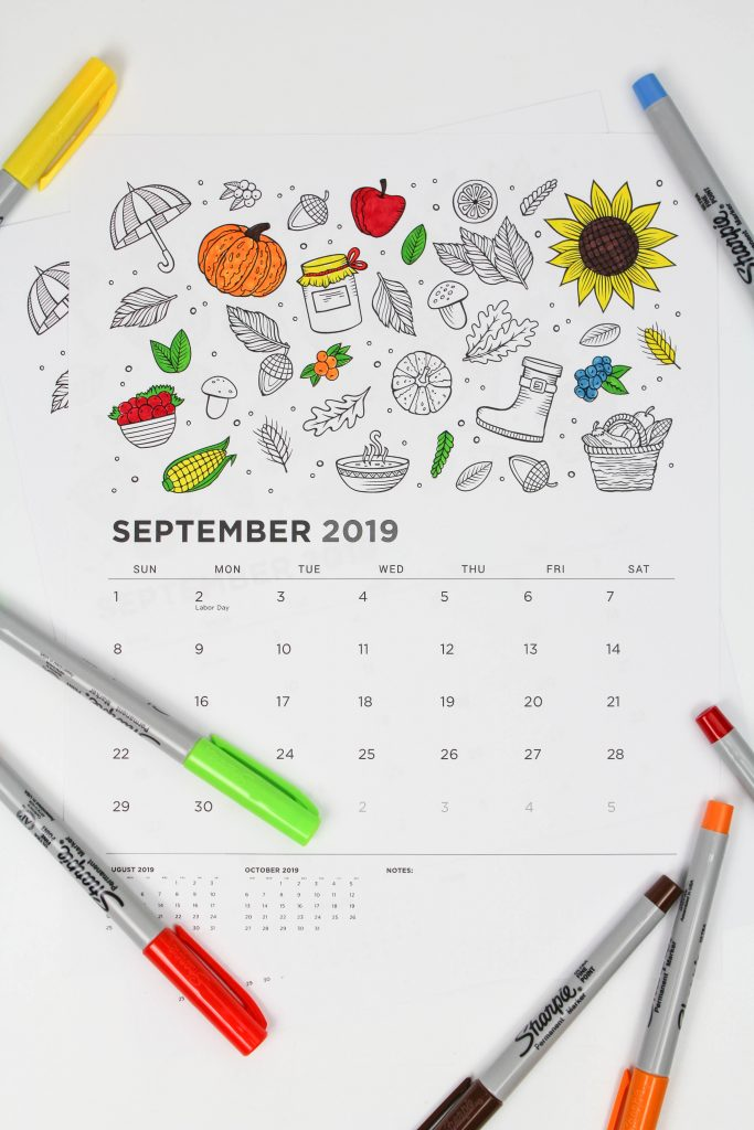Printable September 2019 Calendar: Coloring Pages!
