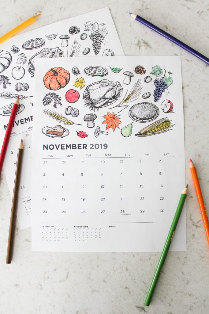 Printable November 2019 Calendar: Coloring Pages!