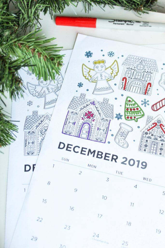 Printable December 2019 Calendar: Coloring Pages!