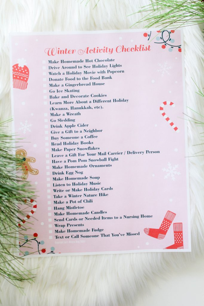 Printable Winter Activity Checklist